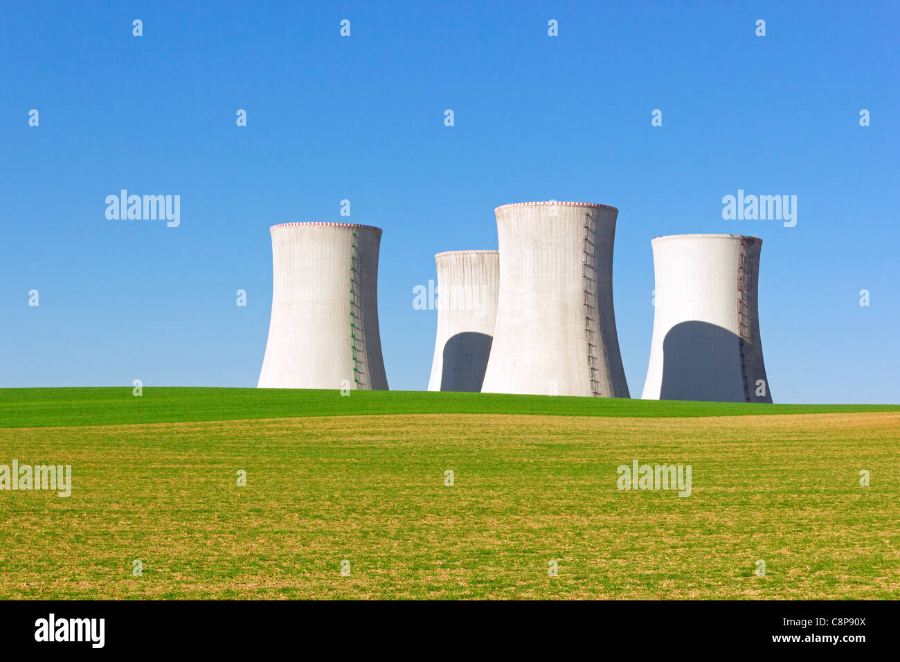 giant cooling towers of nuclear power plant - Stock Image