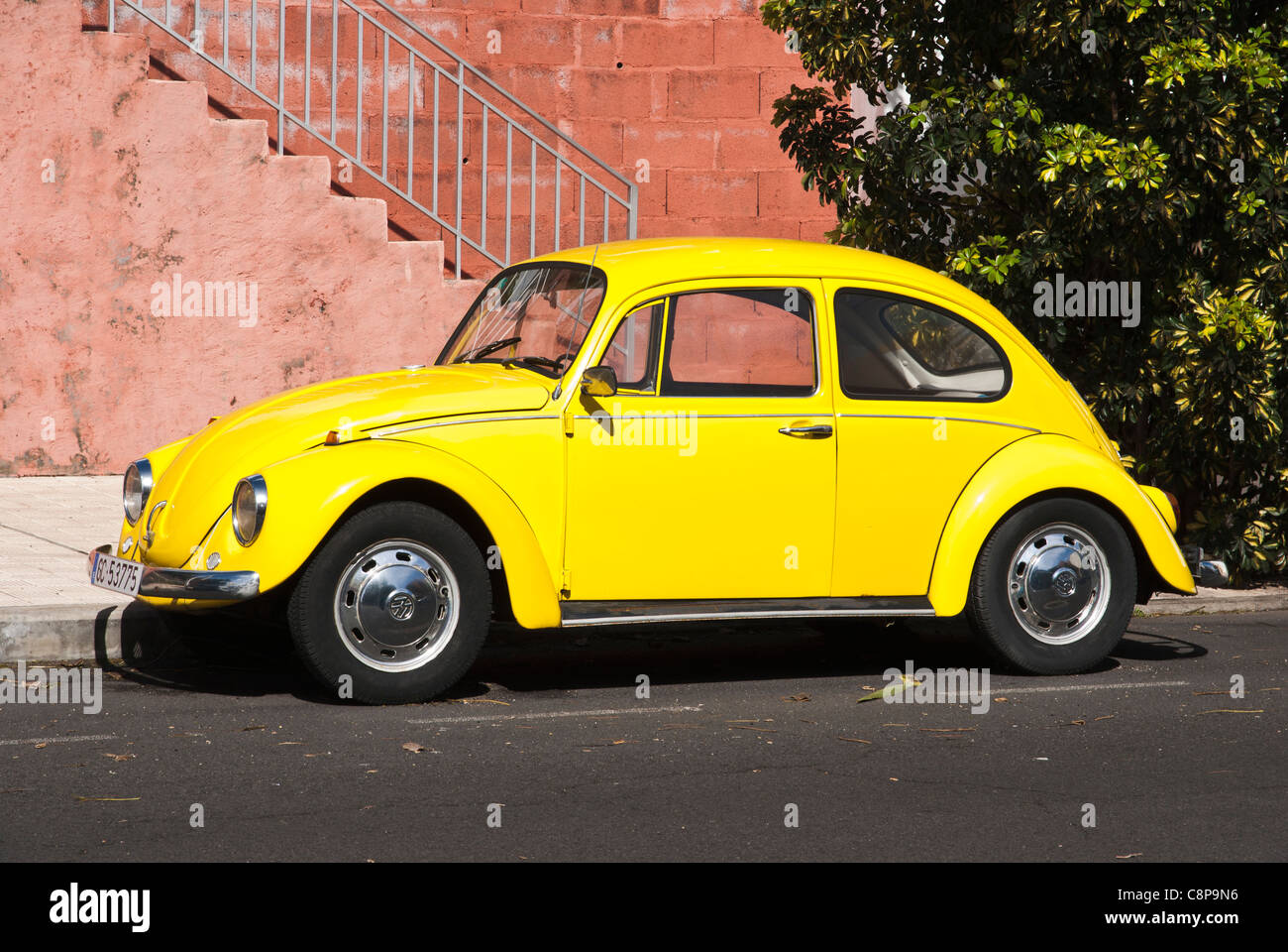 Yellow Volkswagen Beetle. Los Llanos de Aridane, La Palma, Canary Islands. Stock Photo