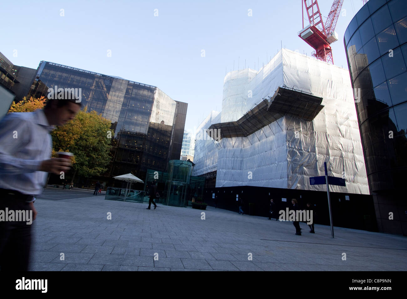 5 Broadgate Development, number 4 and number 6 broadgate preparing for demolition - Stock Image