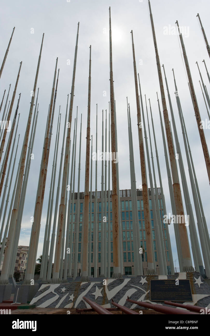 Anti Imperialist Plaza sculpture in front of US Special Interests Section building Havana Cuba - Stock Image