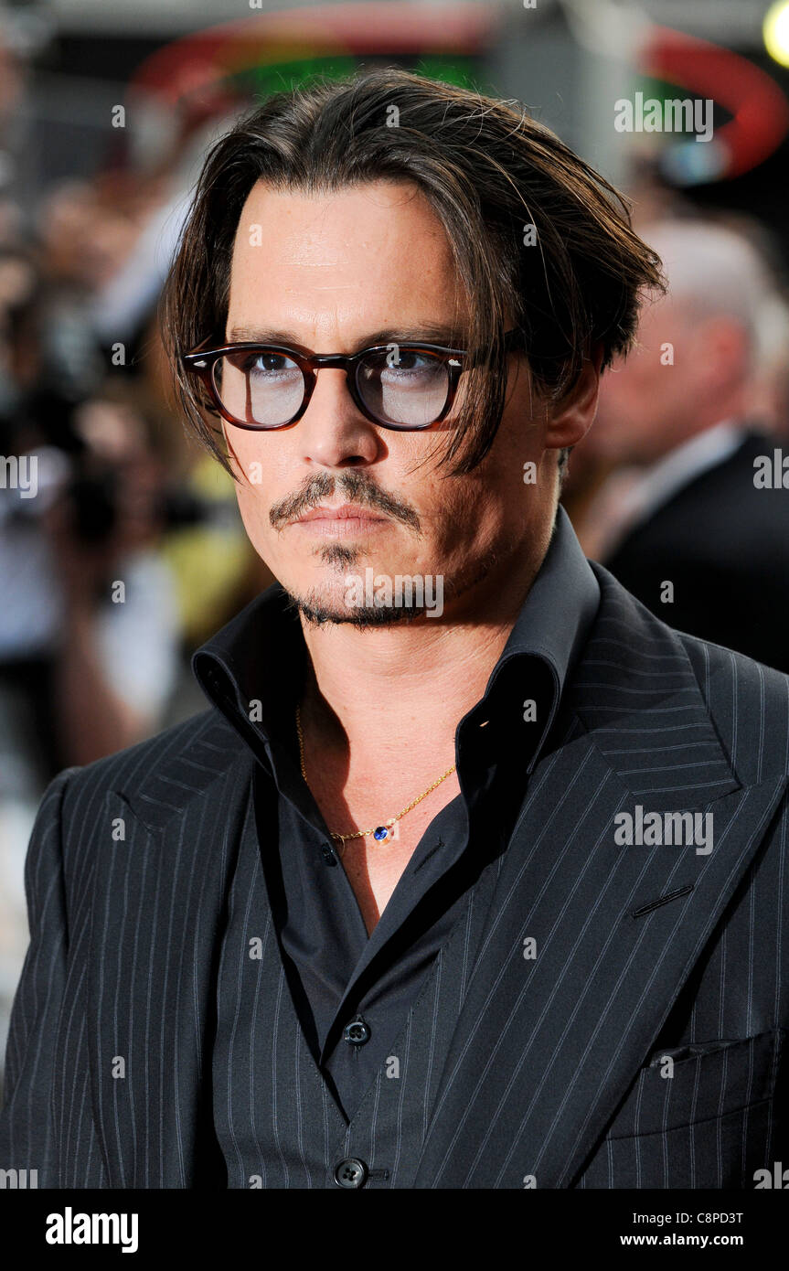 Johnny Depp attends the UK Premiere of 'Public Enemies' at Leicester Square, London, 29th June 2009. - Stock Image