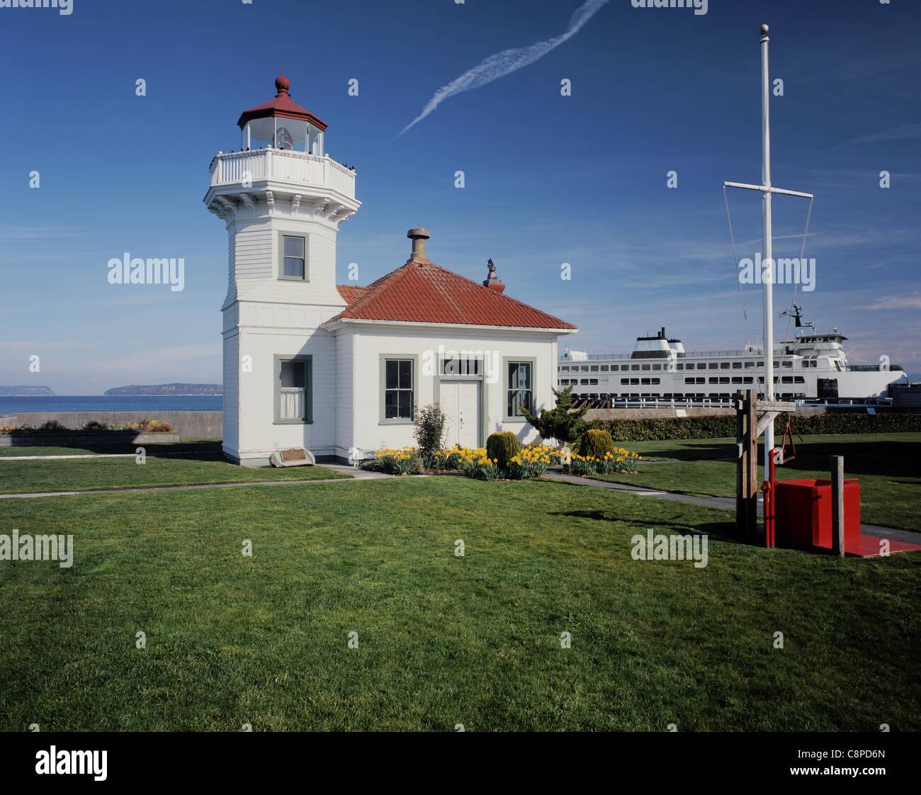 AA05940-01....WASHINGTON - Mukilteo Lighthouse on Possession Sound at Mukilteo. - Stock Image