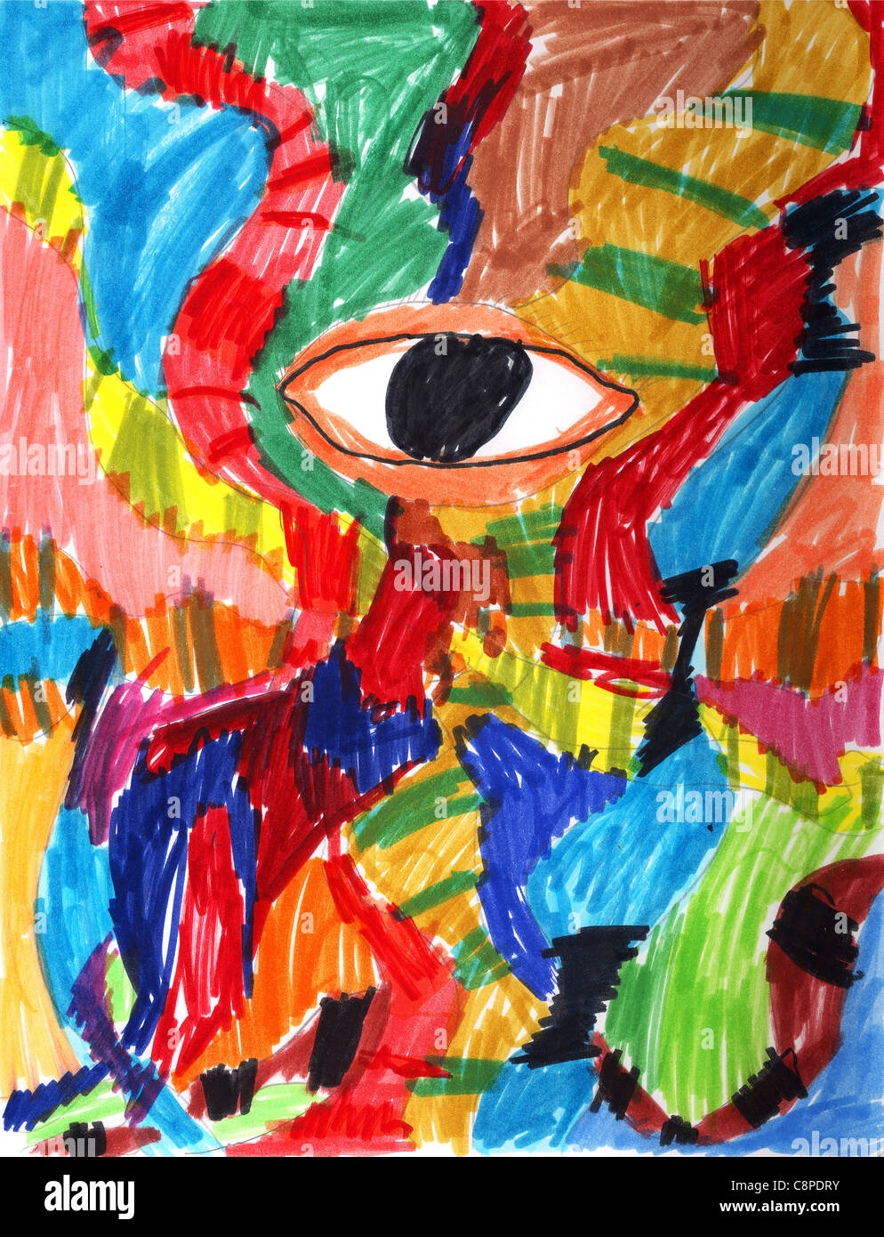 Wildly Colorful Abstract Drawing With Eye By A Genuine Stock