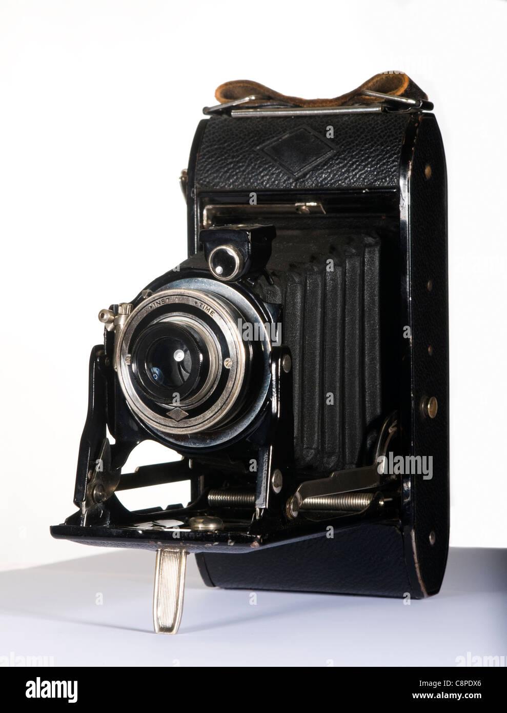 1930s-1940s Folding Camera Isolated on White - Stock Image