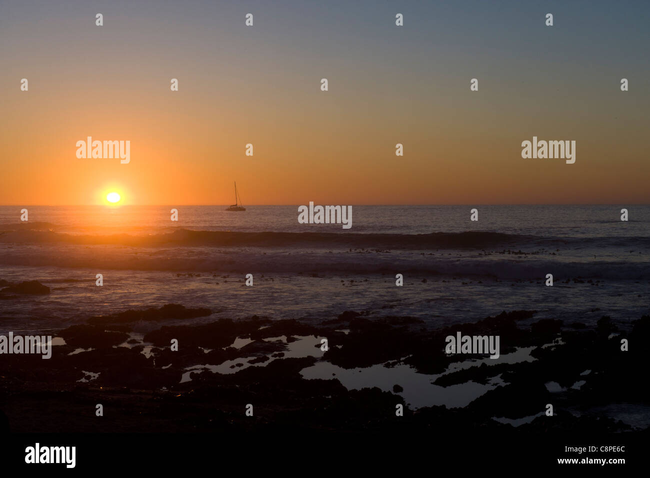 Sunset over the Atlantic Ocean view from Moille Point Cape Town South Africa Stock Photo