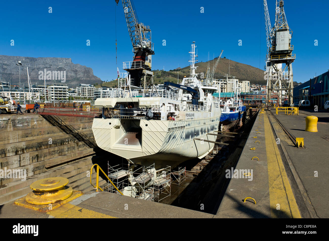 Trawler in a dry dock in Cape Town South Africa Stock Photo