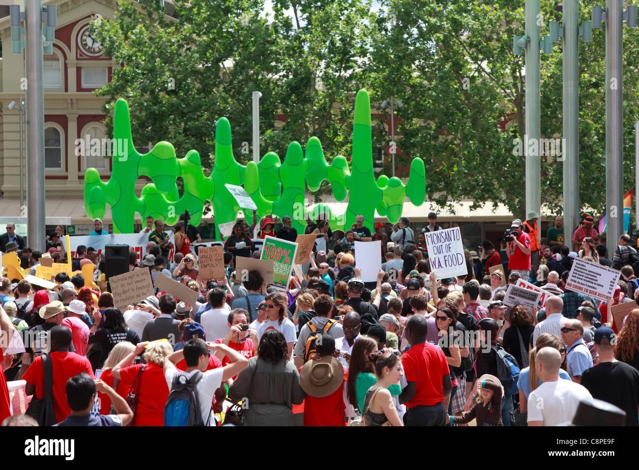 Occupy Perth protest held to coincide with the start of CHOGM 2011. Perth, Western Australia. - Stock Image