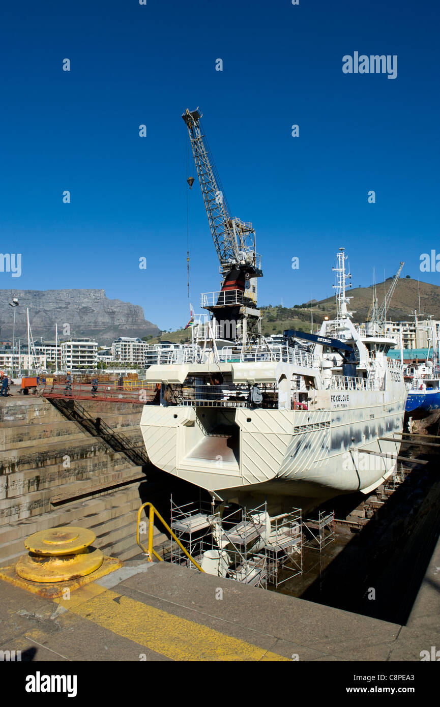 Trawler in a dry dock in Cape Town South Africa - Stock Image