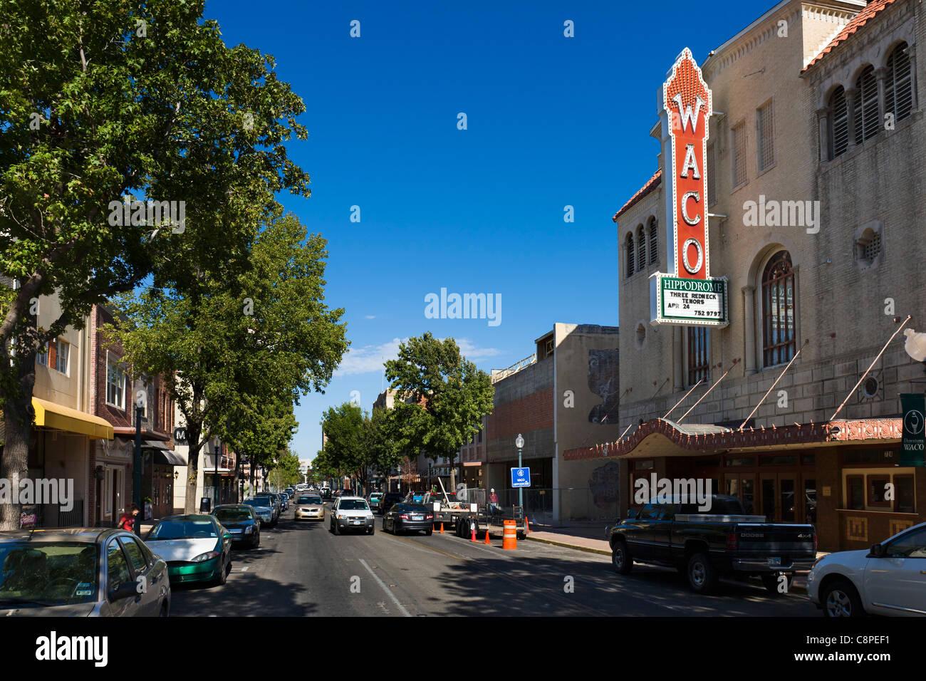 Austin Avenue in historic downtown Waco, Texas, USA - Stock Image