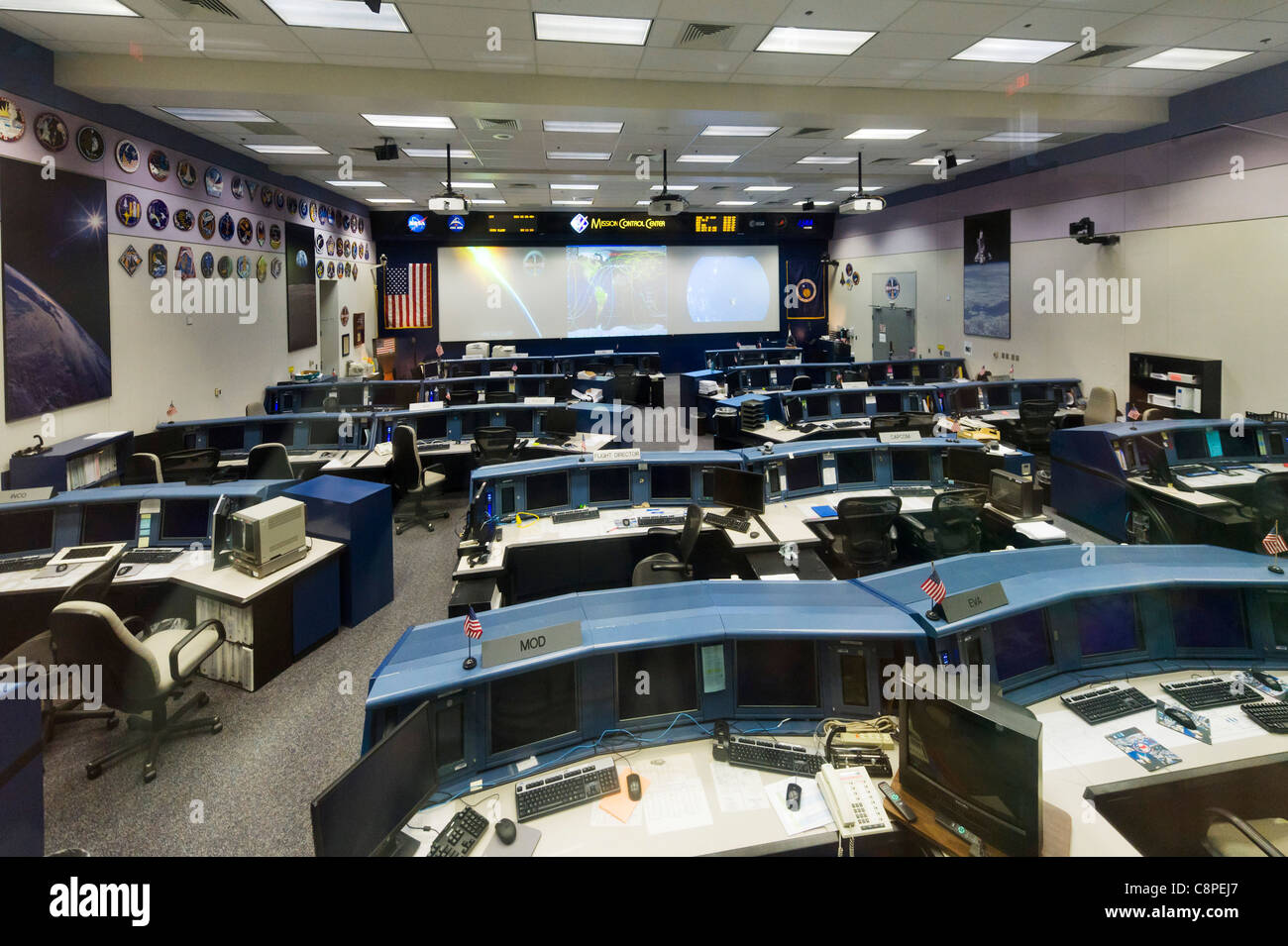 Mission Control Center at the Johnson Space Center, Houston, Texas, USA - Stock Image