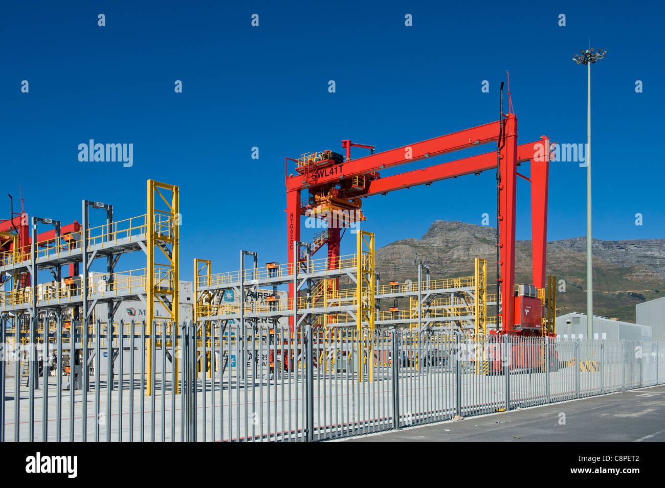 New container loading terminal Cape Town harbor South Africa - Stock Image