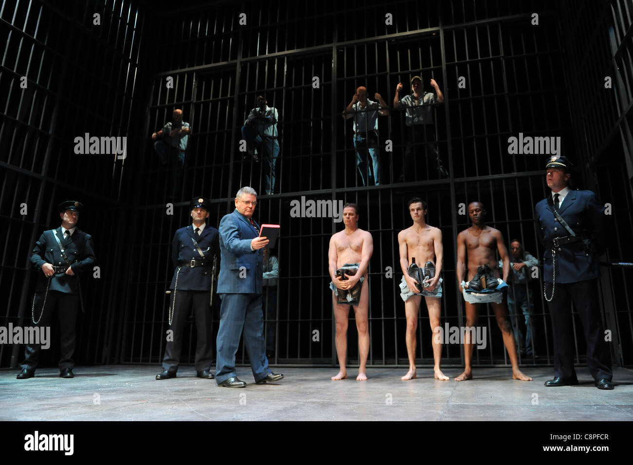 Kevin Anderson (Andy) and Reg E Cathey (Red) perform in The Shawshank Redemption at the Wyndham Theatre, London, - Stock Image