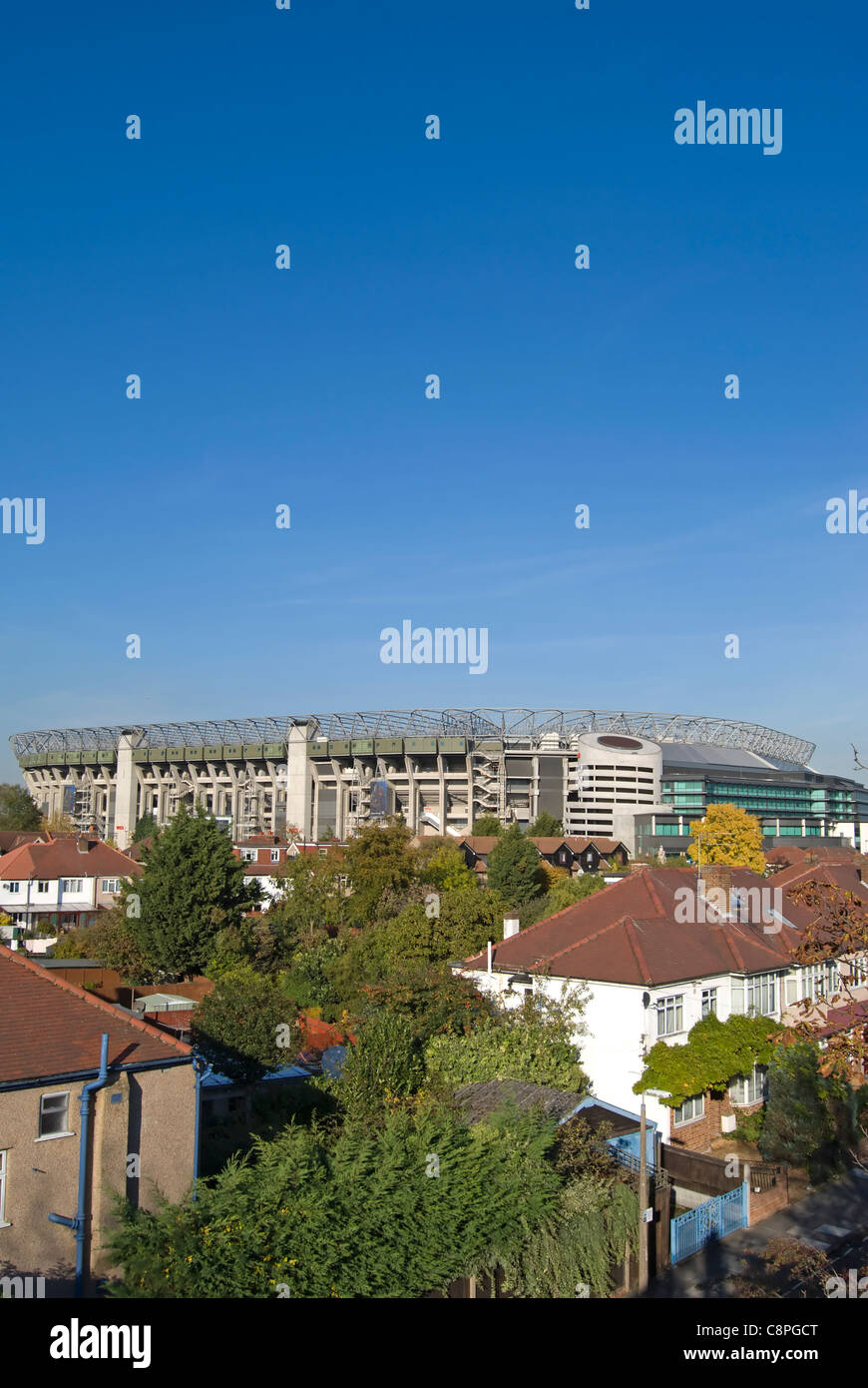 twickenham stadium, or rugby ground, with local houses in foreground, twickenham, middlesex, england - Stock Image