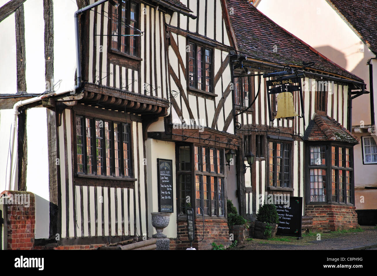 14th century, The Bell Inn, The Street, Kersey, Suffolk, England, United Kingdom - Stock Image