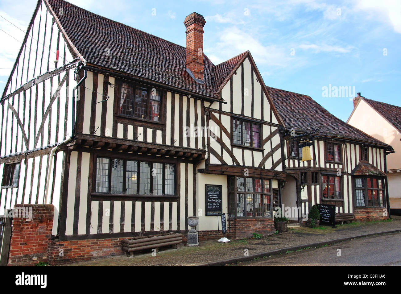 14th century The Bell Inn, The Street, Kersey, Suffolk, England, United Kingdom - Stock Image