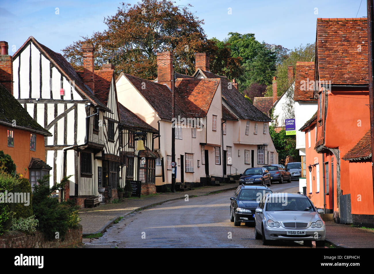 14th century, The Bell Inn and period houses, The Street, Kersey, Suffolk, England, United Kingdom - Stock Image