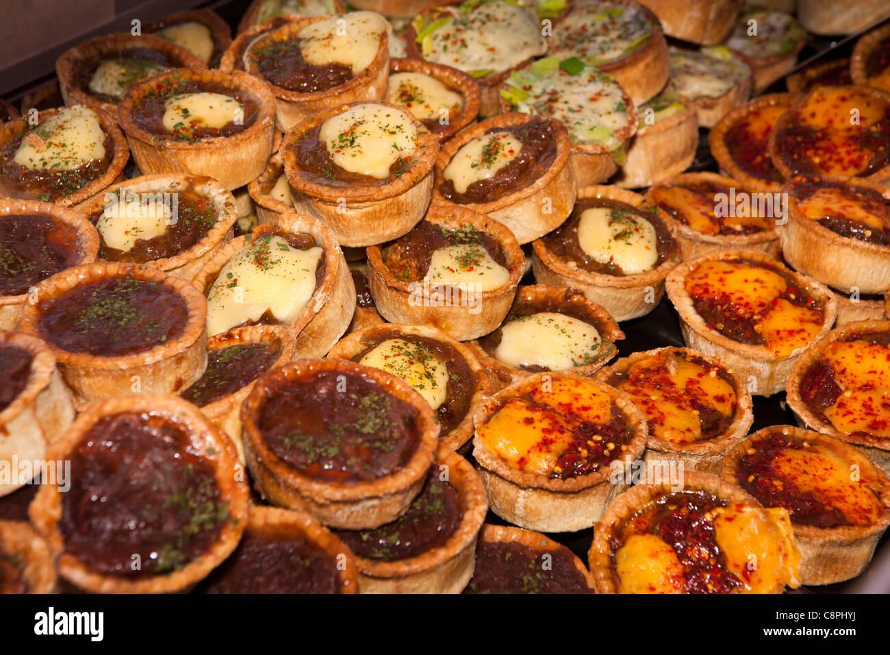 UK, Nottinghamshire, Nottingham, Old Market Square, world village market, posh pork pie company stall - Stock Image