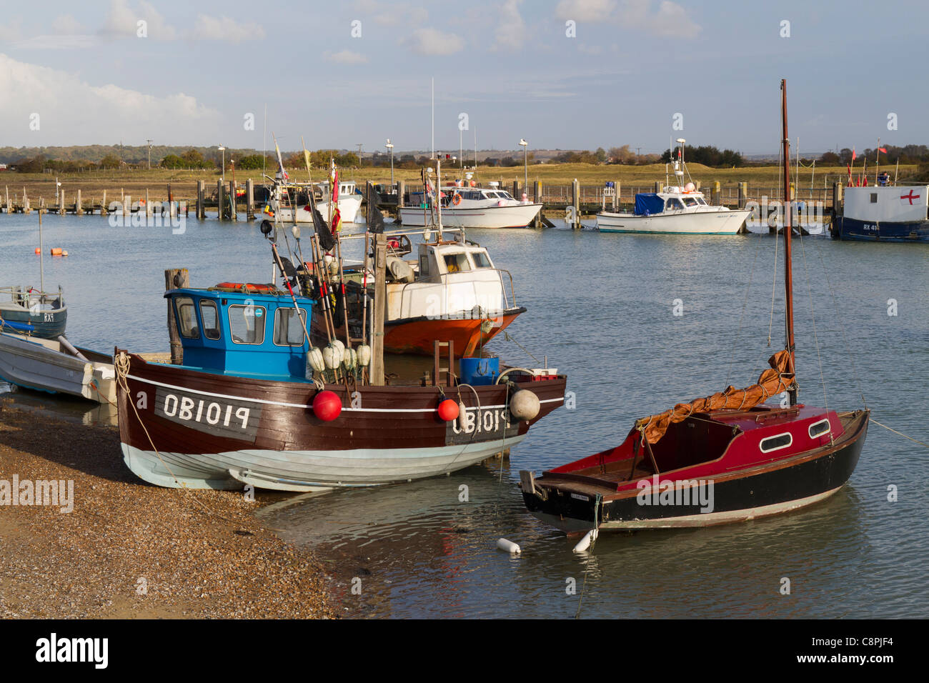 Small fishing boats in Rye harbour - Stock Image