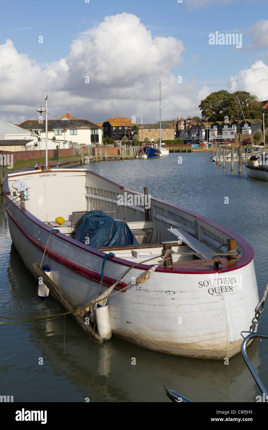 One of the historic Dunkirk little ships moored in Rye harbour East Sussex - Stock Image