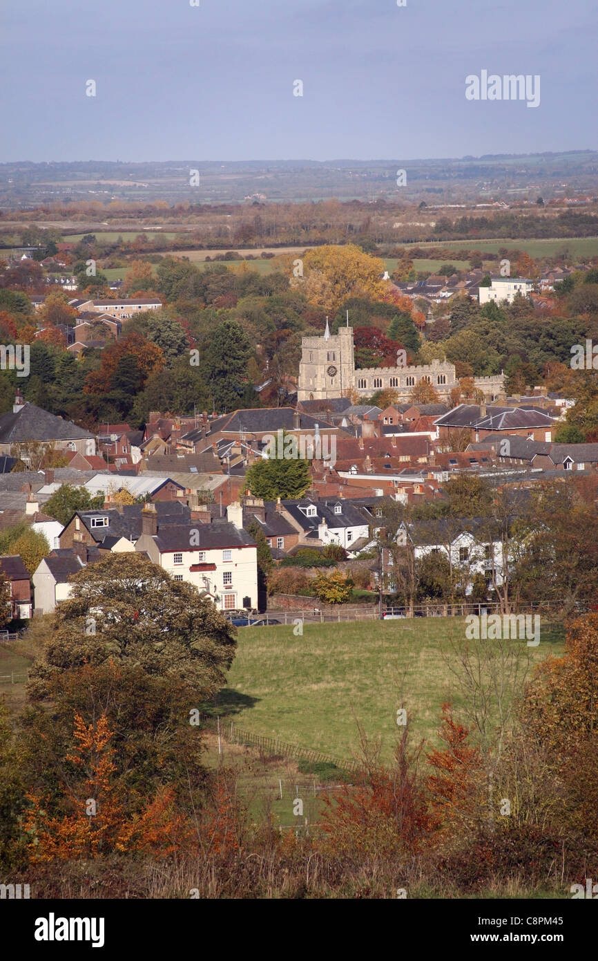 A view of Tring town and church looking North, Hertfordshire, United Kingdom. Looking east - Stock Image