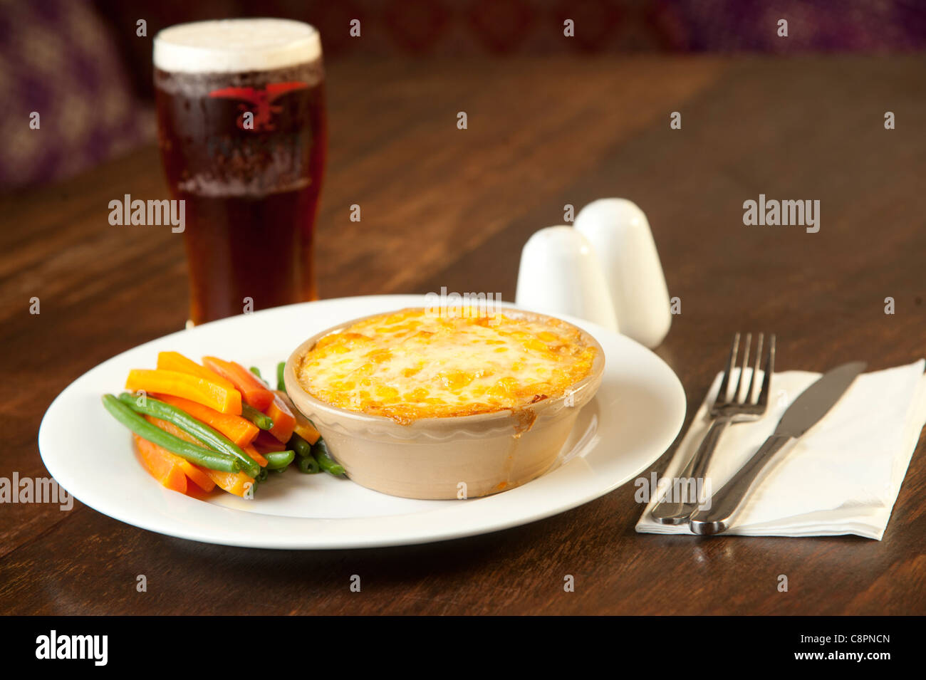 Ystwyth Valley mutton shepherds pie with root mash and Hafod cheese at Y Ffarmers pub restaurant, Llanfihangel y - Stock Image