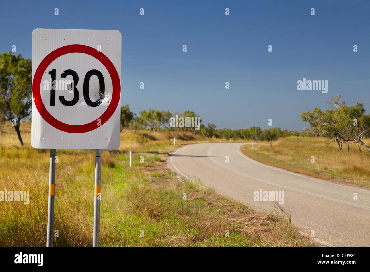130km speed sign, Victoria Highway, Northern Territory, Australia - Stock Image