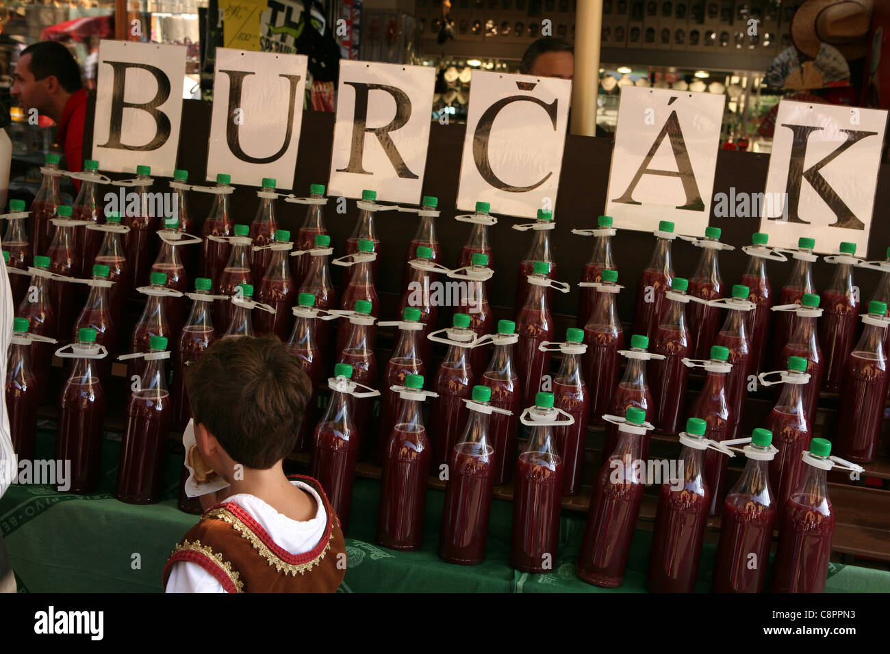Bottles of young wine known as federweisser or burcak at the annual wine festival Vinobrani at Karlstejn castle, Stock Photo