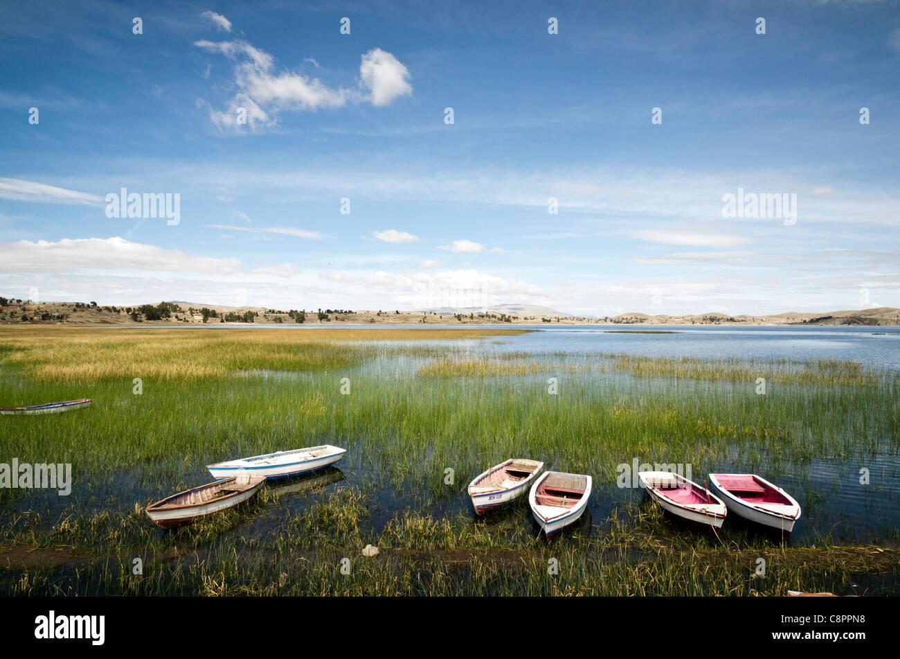 Landscape near Titicaca Lake Puno Peru - Stock Image