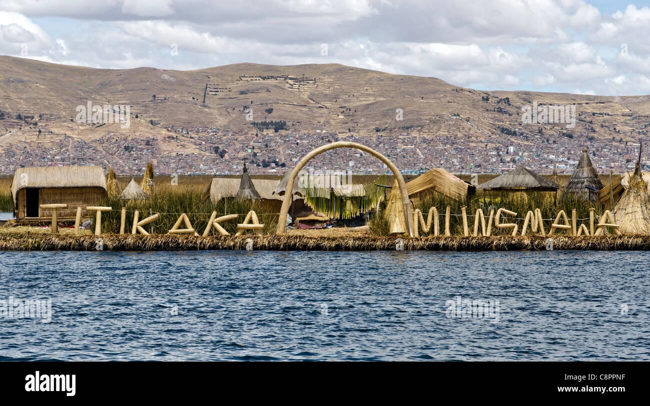 Uros island floating Titikaka lake islands Puno Peru - Stock Image