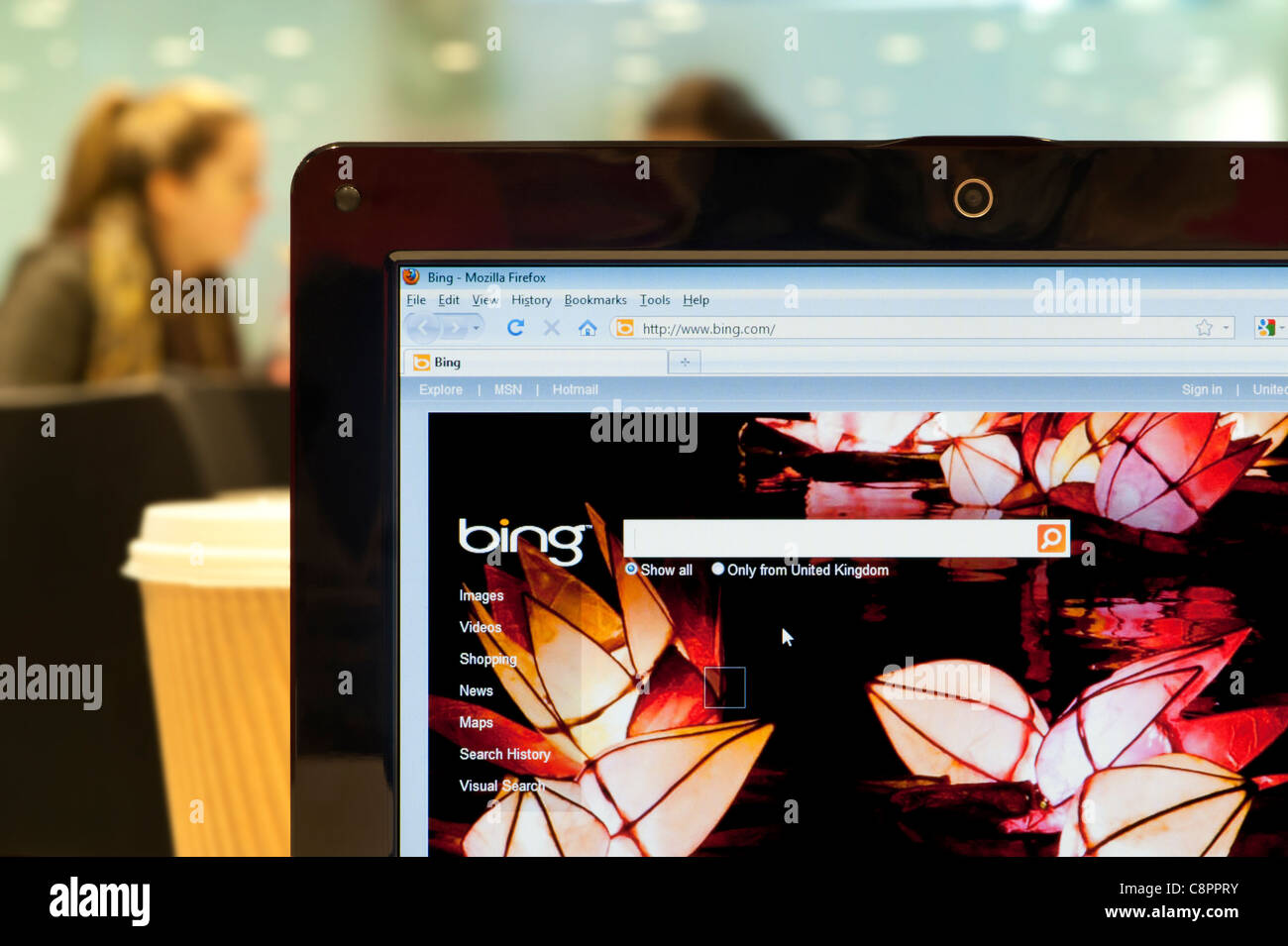 The Bing website shot in a coffee shop environment (Editorial use only: print, TV, e-book and editorial website). - Stock Image