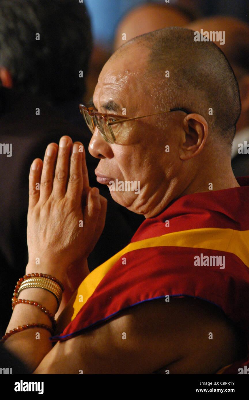 Spiritual leader of the Tibetan Buddhism 14th Dalai Lama. - Stock Image
