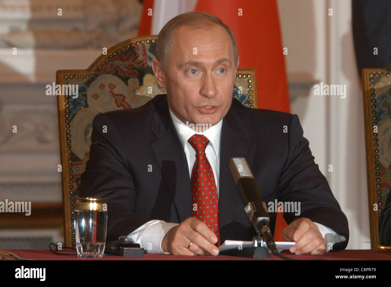 Russian president Vladimir Putin attends a news conference during his visit to Prague, Czech Republic on 1 March - Stock Image