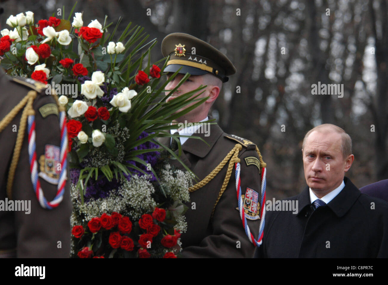 Russian president Vladimir Putin visits the Soviet War Memorial at Olsany cemetery in Prague, Czech Republic on - Stock Image