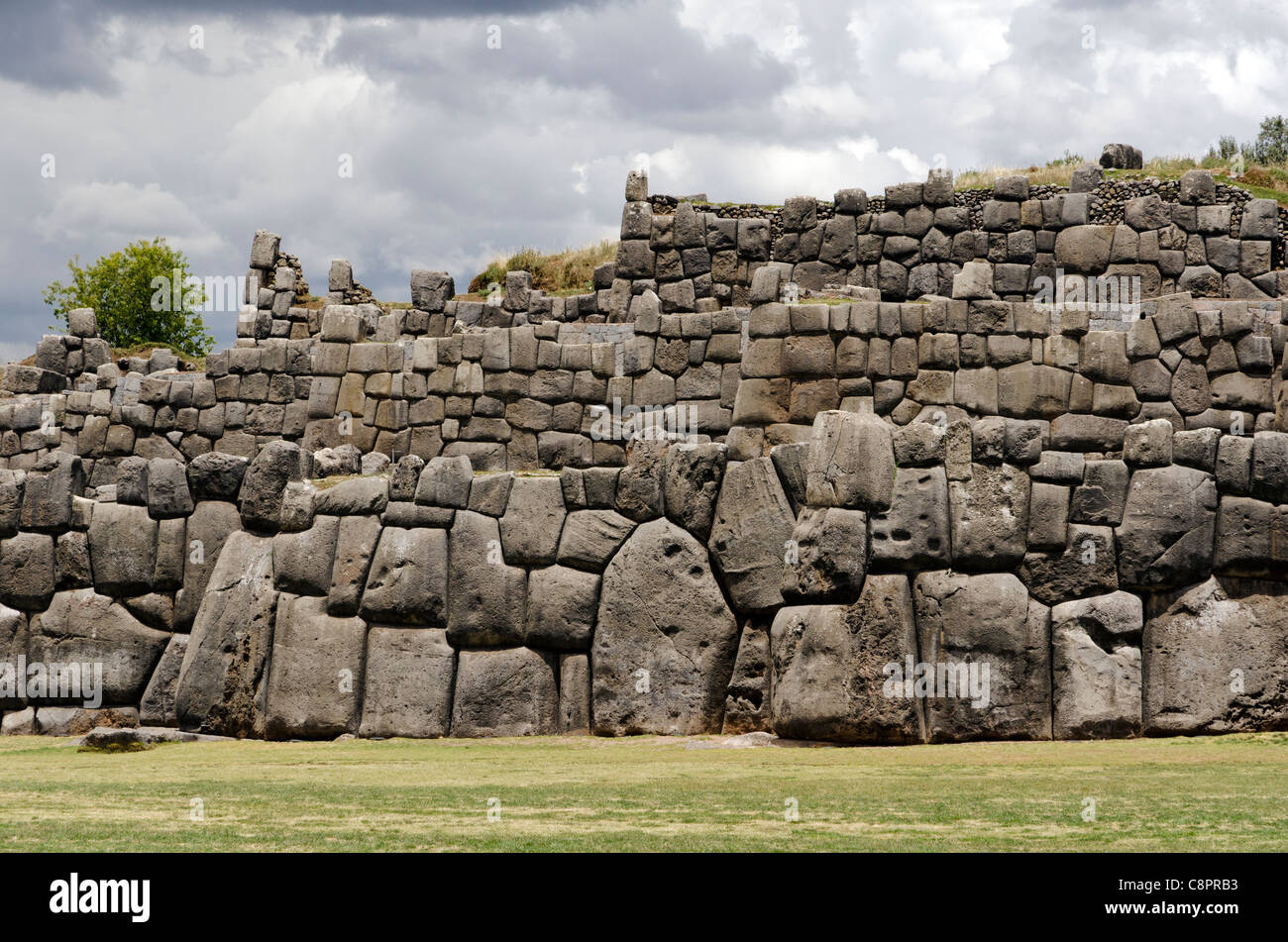 Limestone blocks at the ruins of Sacsayhuaman Cusco Peru - Stock Image