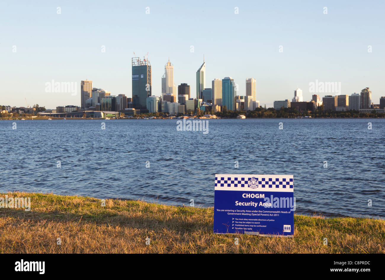 CHOGM Security Area Police sign - Stock Image