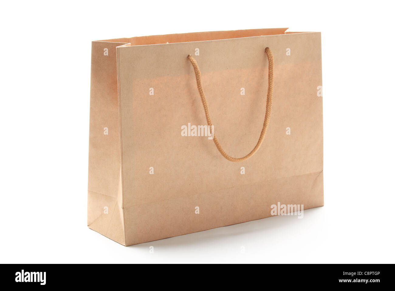 Paper shopping bag isolated on white - Stock Image