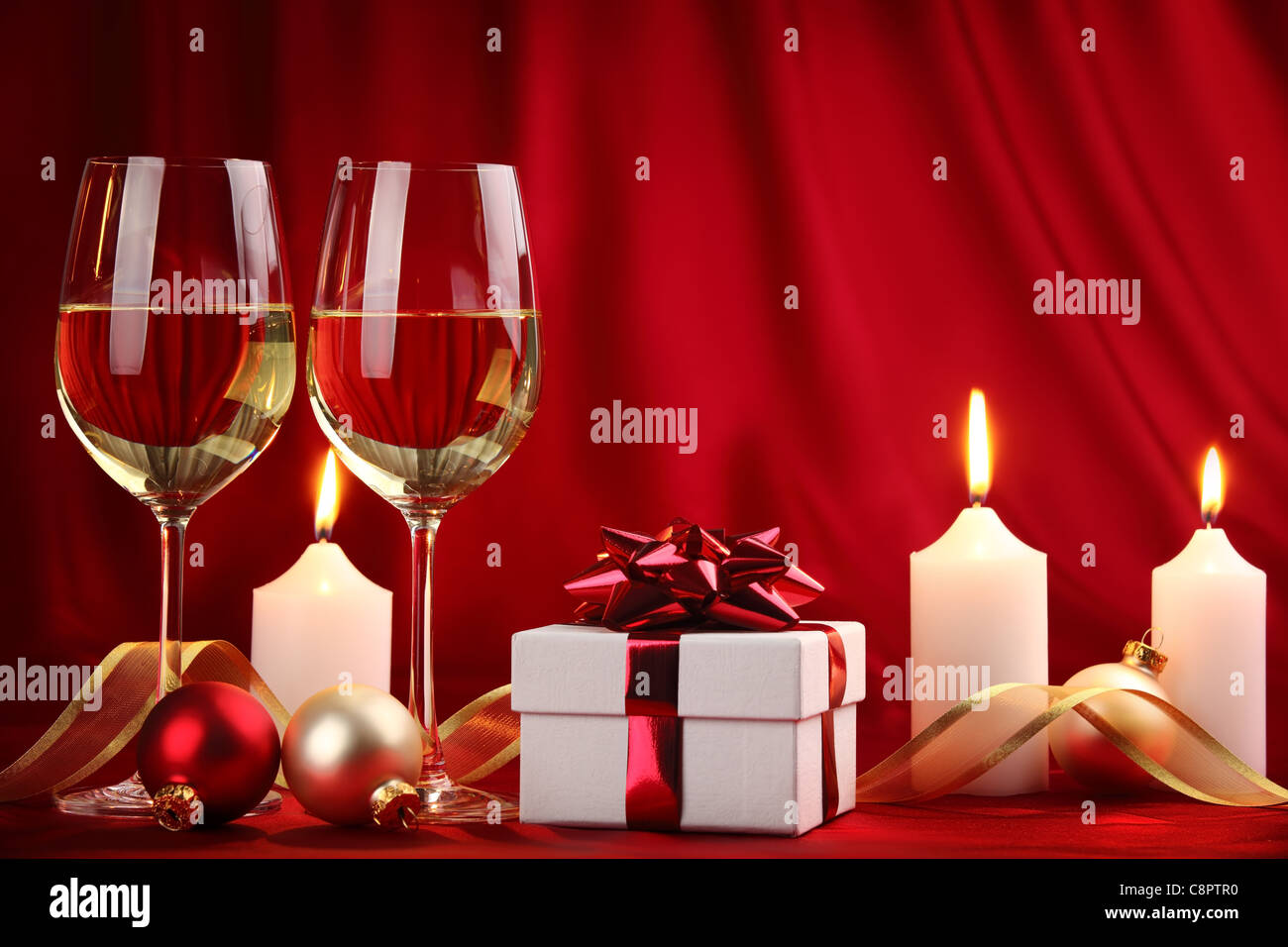 Christmas Celebration,Champagne in Christmas setting. - Stock Image