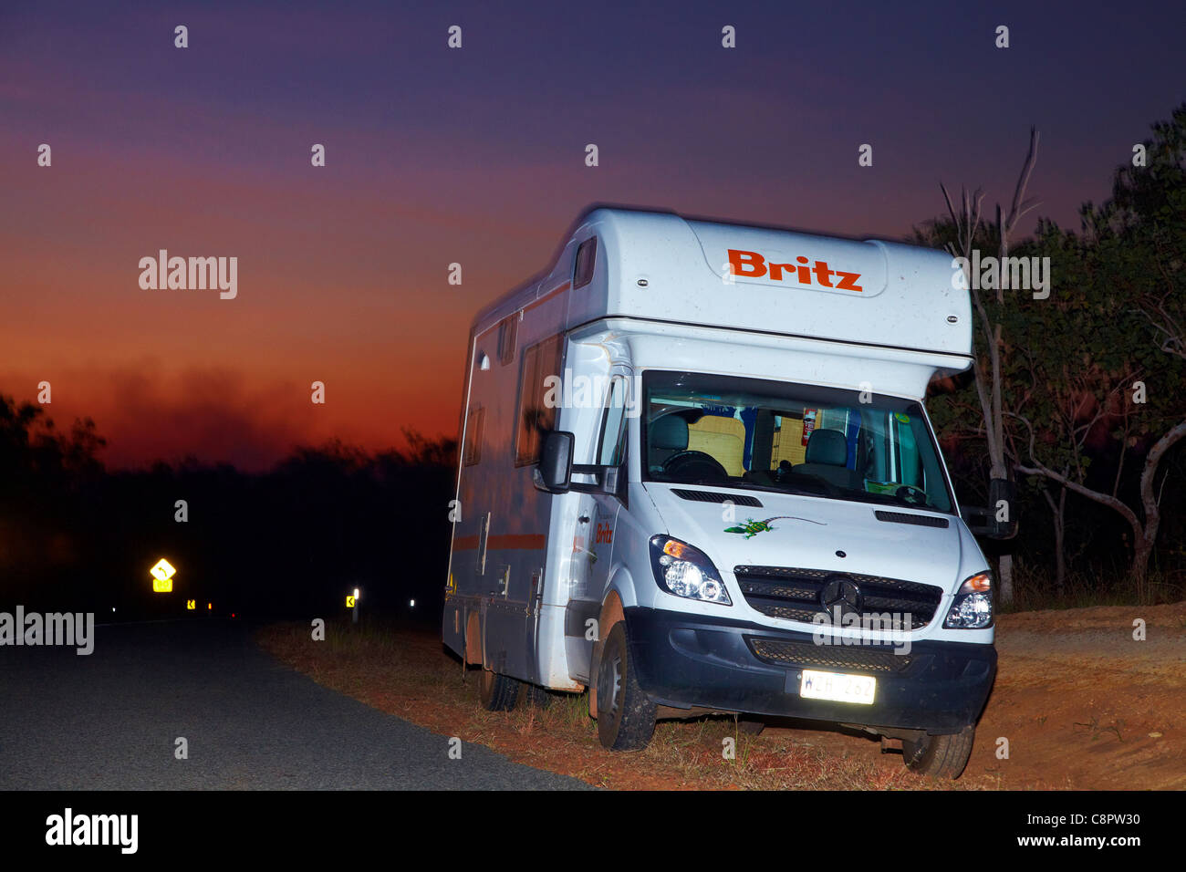 Campervan at dusk, Litchfield National Park, Northern Territory, Australia - Stock Image