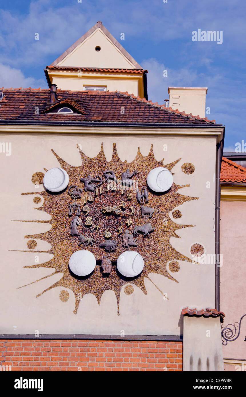 street clock with zodiac signs in Poland capital Warsaw - Stock Image