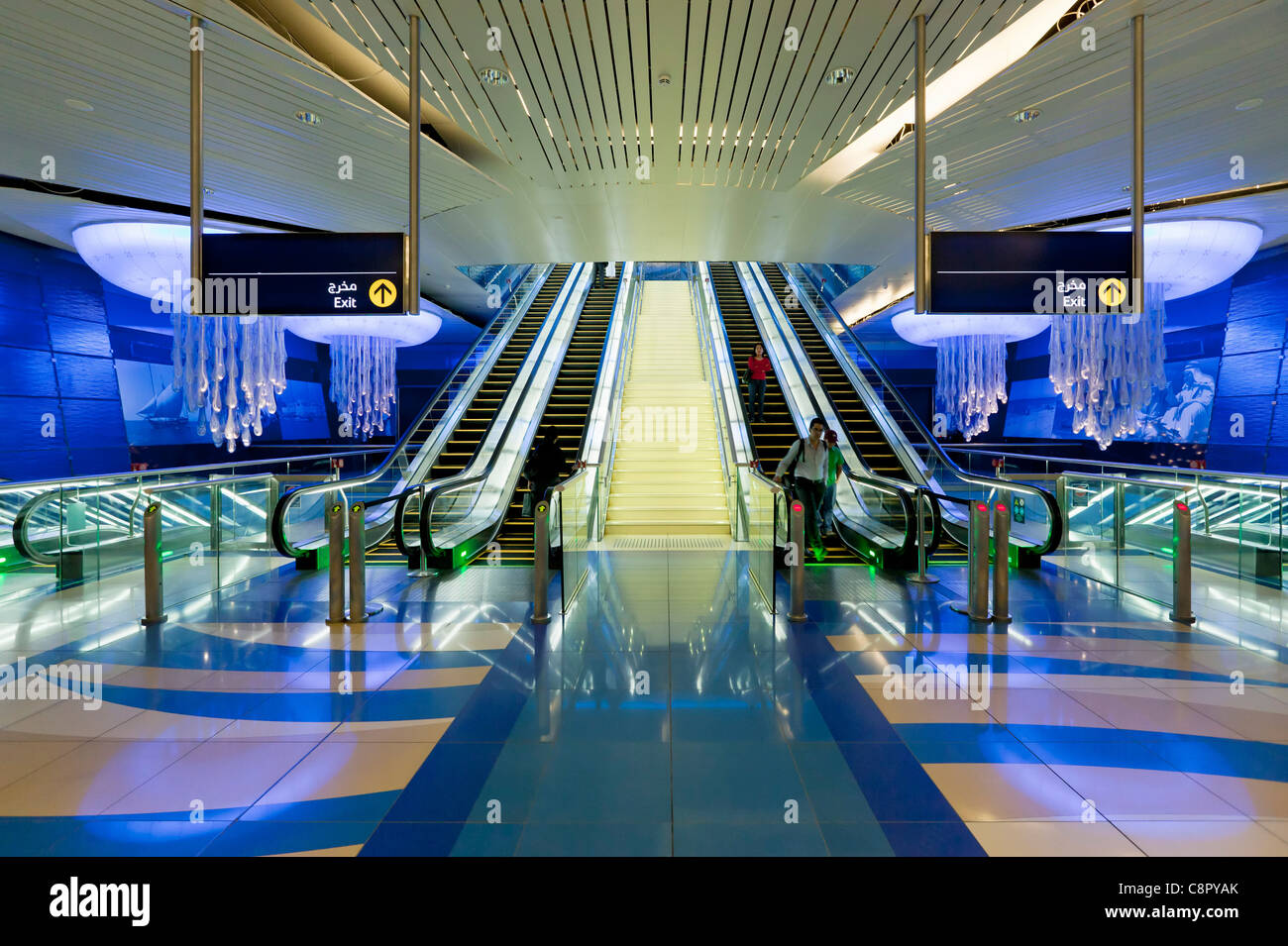 Underground escalators Metro Station Interior, Dubai, United Arab Emirates, UAE, Middle East - Stock Image
