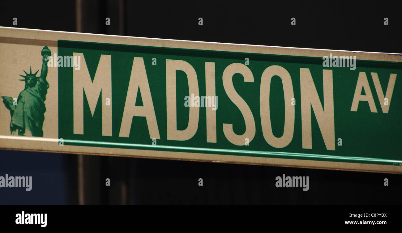 Indication of Madison Avenue. Manhattan. New York. United States. - Stock Image