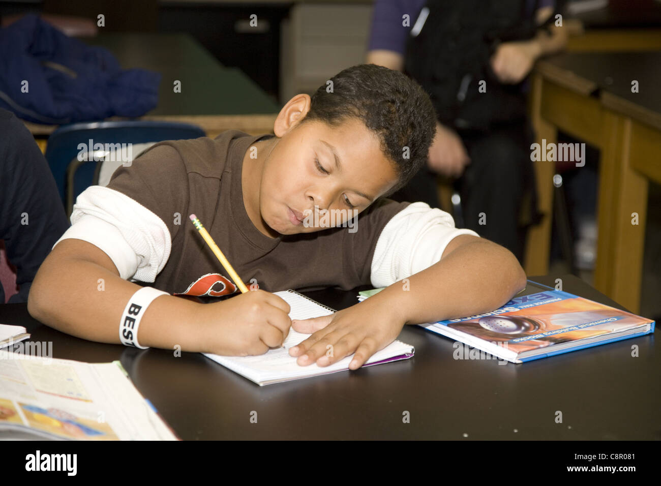 Children at a multiethnic, inner city, overcrowded junior high school in Yonkers, New York. - Stock Image