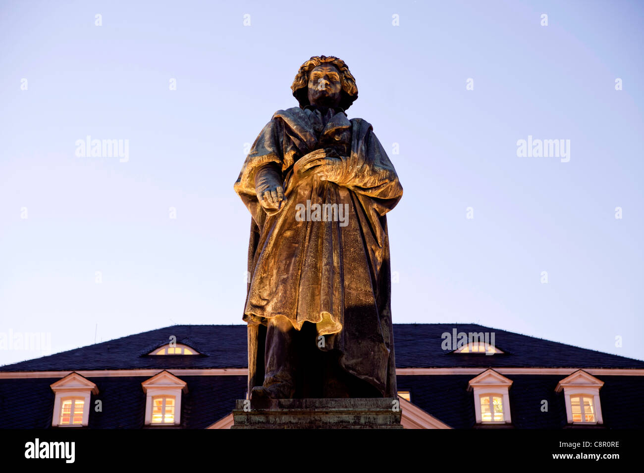 Beethoven monument on Muenster square in Bonn at Night, North Rhine-Westphalia, Germany, - Stock Image