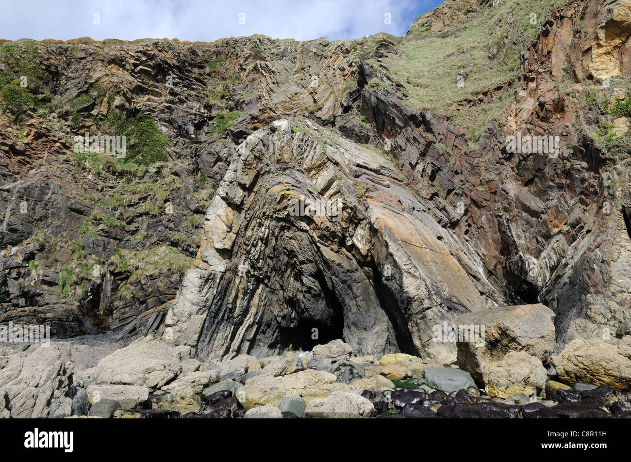 Rock Formation at Pwllcrochan Beach Pembrokeshire Coast National Park St Nicholas Wales Cymru UK GB - Stock Image