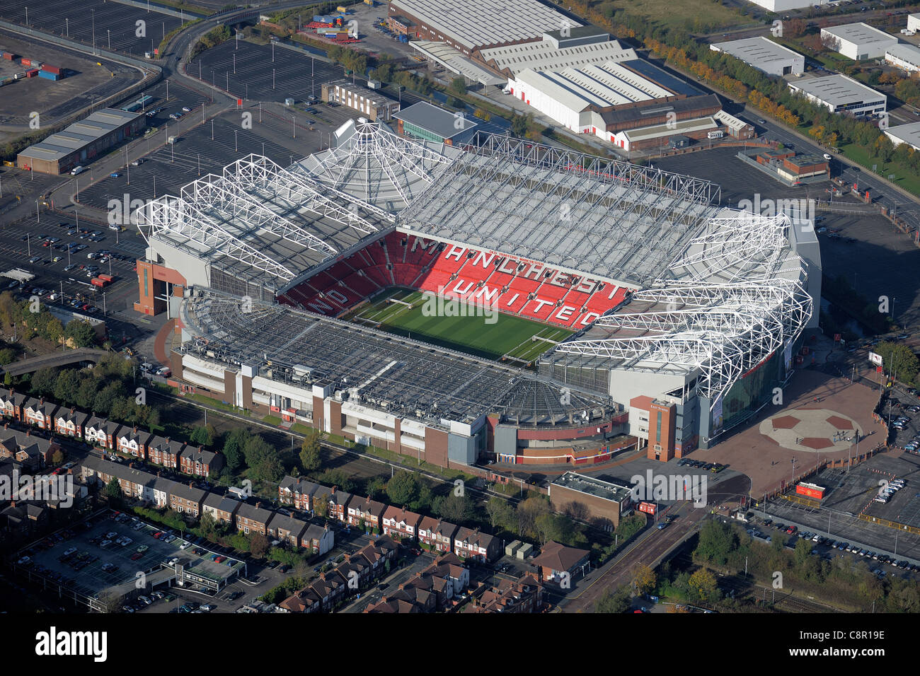 Aerial view of Old Trafford football stadium, home of Manchester United FC - Stock Image