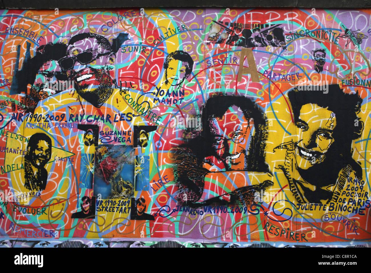 Berlin Wall in East Side Gallery in Berlin, Germany. - Stock Image