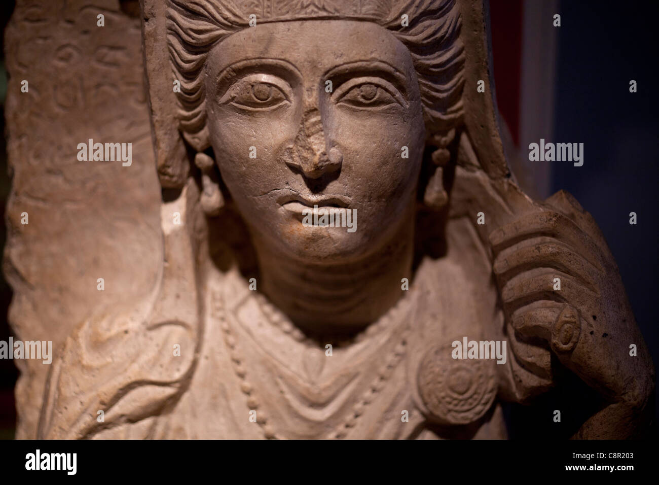 Second Century AD Female Funerary bust from Palmyra Syria on display at Manchester Museum - Stock Image