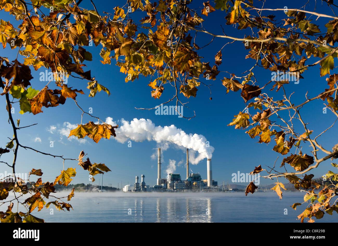 Power Plant on Lake Julian - Asheville, North Carolina USA - Stock Image