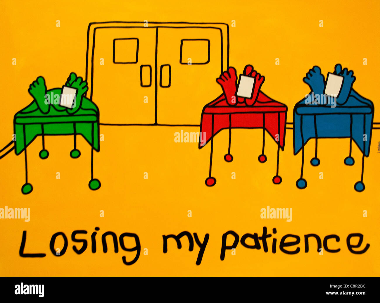 Losing my Patience Hospital Feet Dead dead woman women men man on table with toe tag tags feet toes label identity - Stock Image