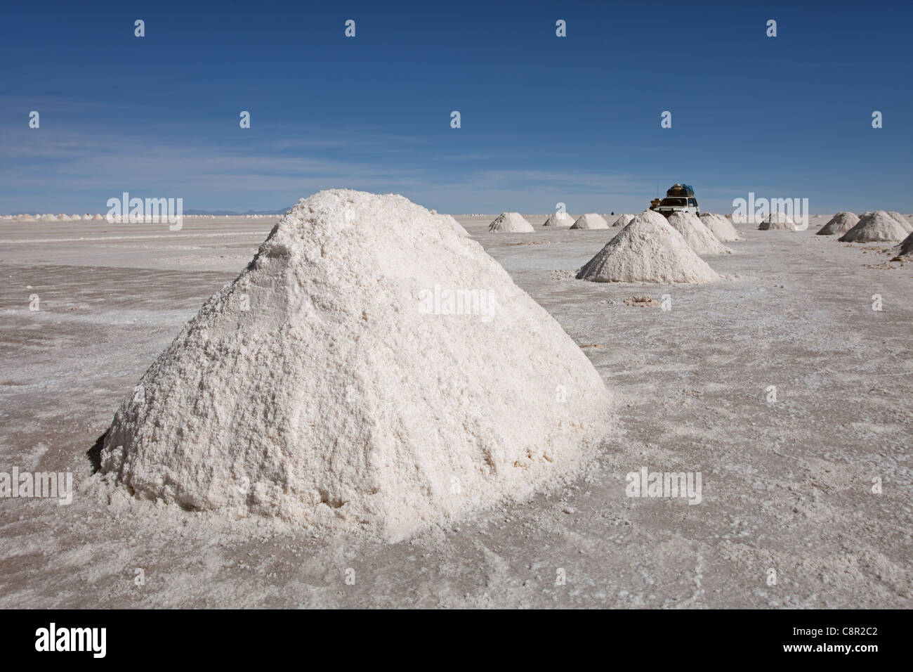 Salar de Uyuni: Salt Production - Stock Image